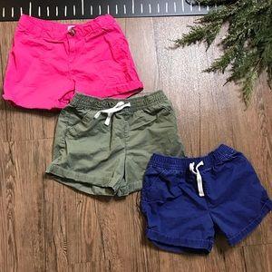 Carter's Girls Shorts Bundle. Pink, Navy, Olive.